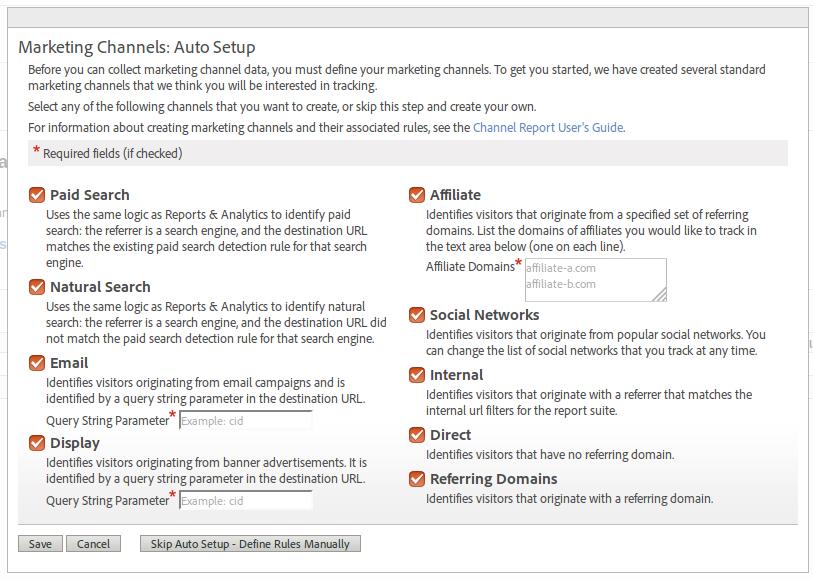 Marketing Channels default setup