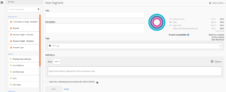 adobe analytics segment interface