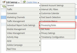 processing rules menu